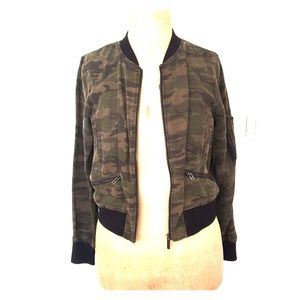 Sanctuary Camo Bomber Jacket, sz Small